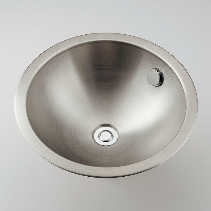 493-040 カウンター設置タイプ ステンレス丸型洗面器