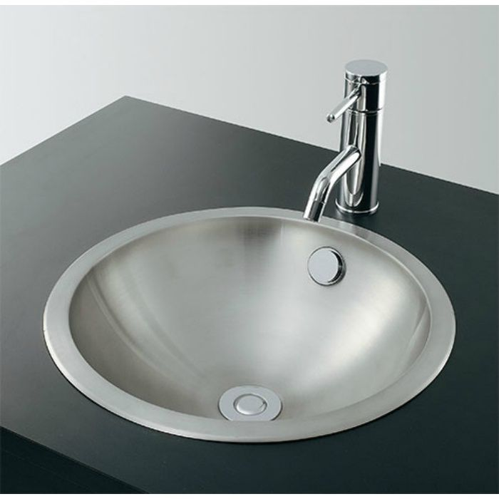 493-042 カウンター設置タイプ ステンレス丸型洗面器