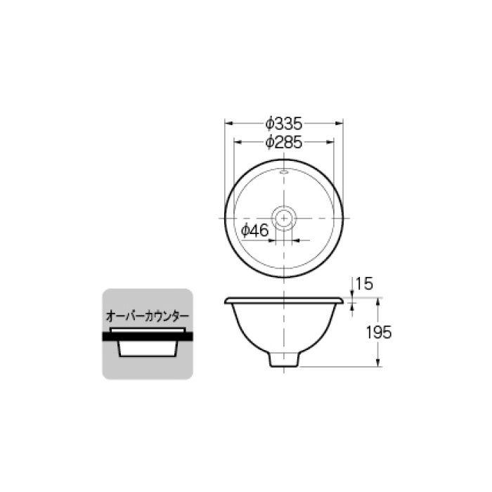 #CL-K1002AC カウンター設置タイプ 丸型手洗器