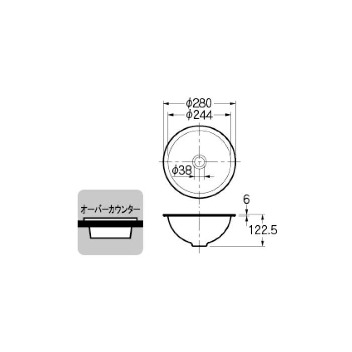 493-026-D カウンター設置タイプ 丸型手洗器 ブラック