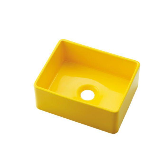 493-174-Y カウンター設置タイプ 角型手洗器 イエロー