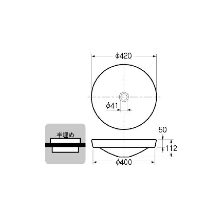 493-049-GR 和風 丸型洗面器 青竹