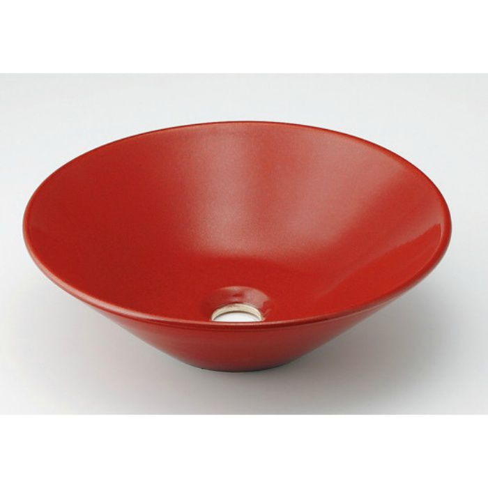 493-037-R 和風 丸型手洗器 鉄赤