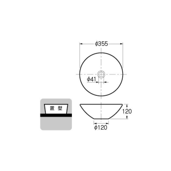493-046-CR 和風 丸型手洗器 亜麻