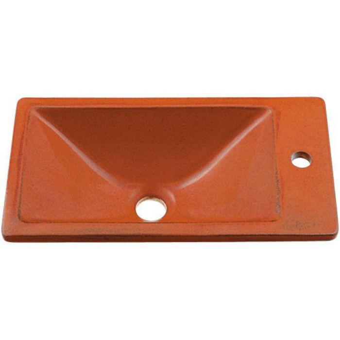 493-010-R 和風 角型手洗器 鉄赤