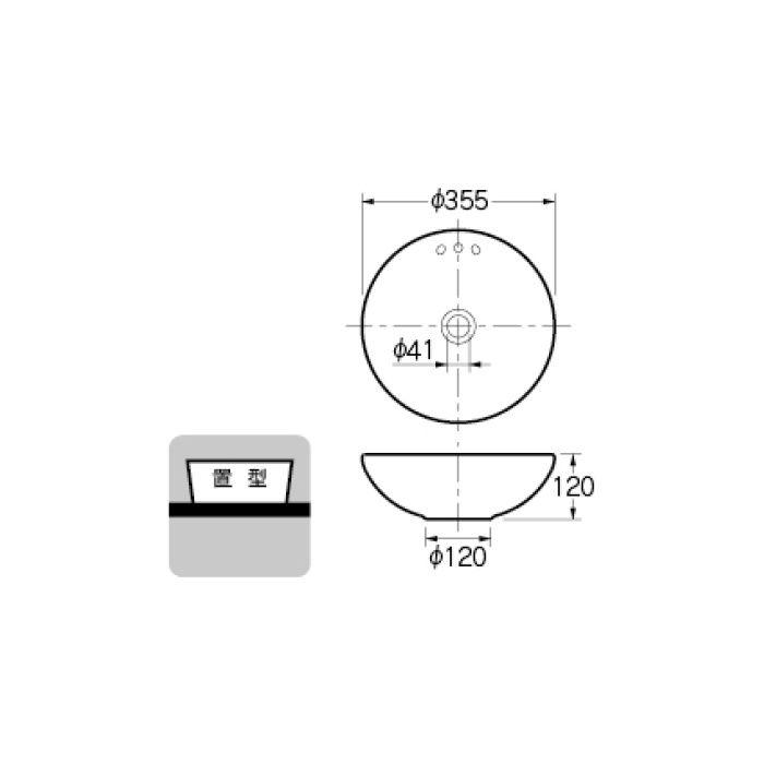 493-165-CR 和風 丸型手洗器 亜麻