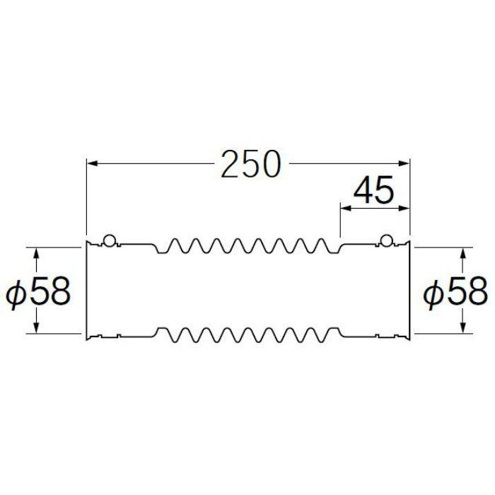 H6420C-50X250 パン排水フレキ 長さ250mm
