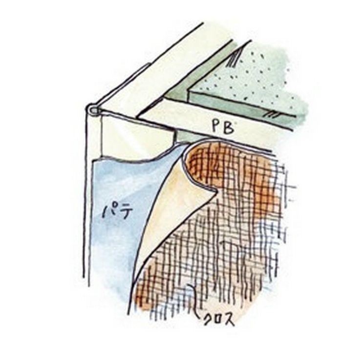 ペンキ・クロス下地材 出隅 ビニール コーナーピート28穴あき+テープ付 ミルキー 3m  04082-2