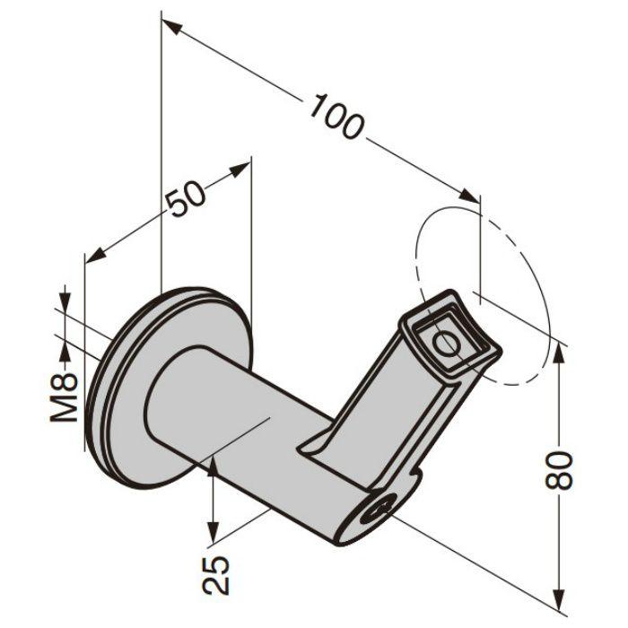 Q-railing 手すりパイプ用ブラケット 13-9320型 壁取付用 13-9320-042-12