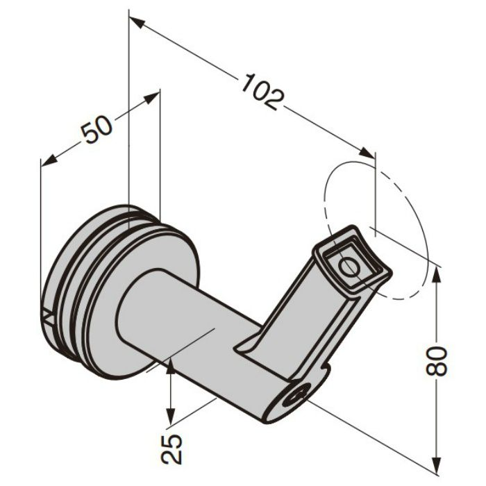 Q-railing 手すりパイプ用ブラケット 13-9350型 ガラス取付用 13-9350-048-12