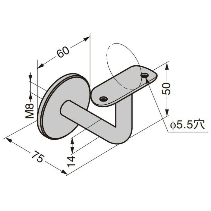 Q-railing 手すりパイプ用ブラケット 13-0111型 壁取付用 13-0111-048-12