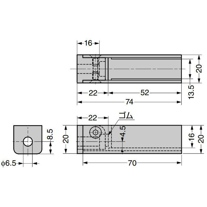 PS ガラスホルダーシステム CP-MINI 9410VA 角柱取付タイプ180°仕様 9410VA