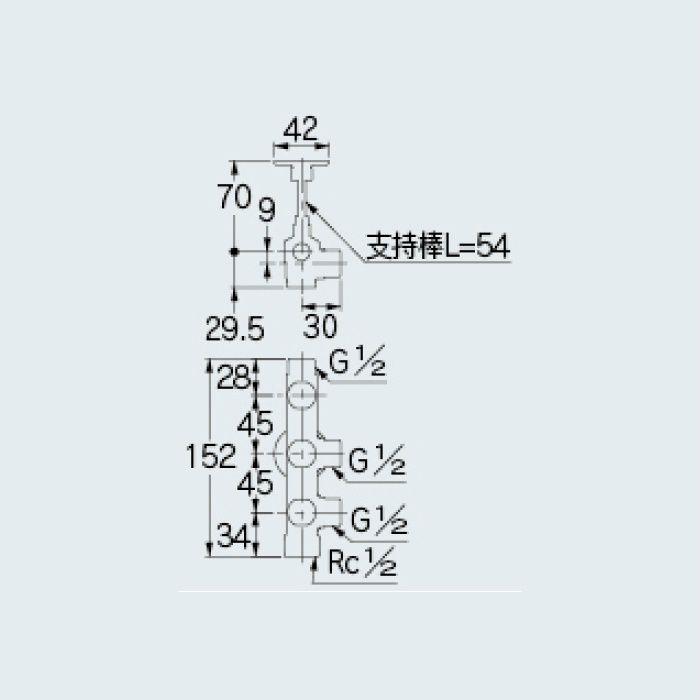 784-534-13 止水栓 キッチンヘッダー(D式)