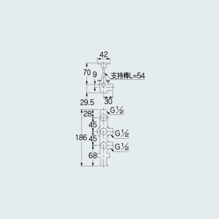 784-554-13 止水栓 キッチンヘッダー(D式・クイックファスナー式)