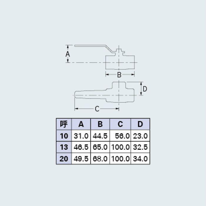6508-10 バルブ 三方ボールバルブ