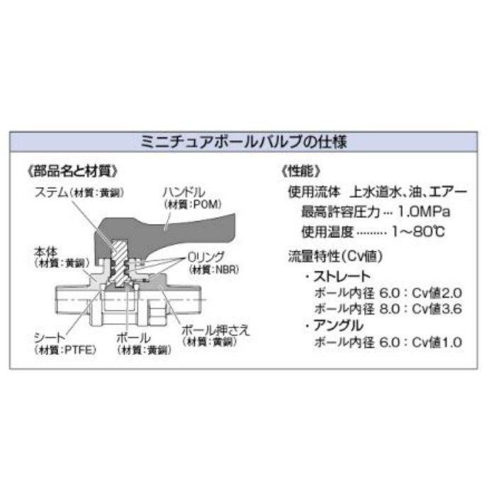 651-956-1/4X8.0 バルブ アングル型ミニチュアボールバルブ