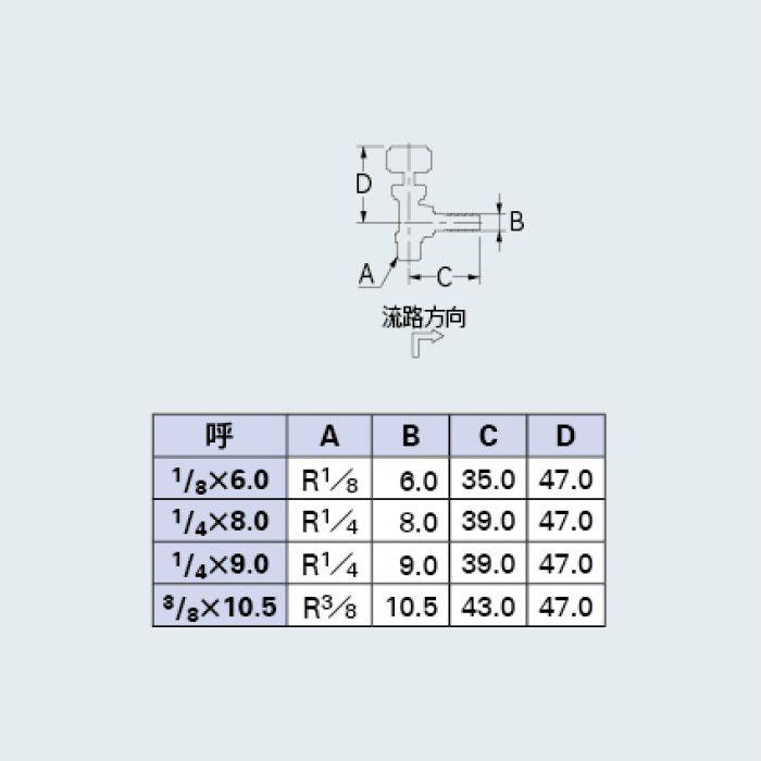 651-97-1/4X9.0 バルブ アングル型ニードルバルブ