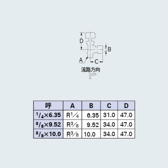 651-98-1/4X6.35 バルブ アングル型ニードルバルブ