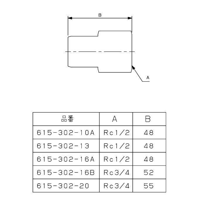 615-302-16B メタカポリ内ネジアダプター ワンタッチ