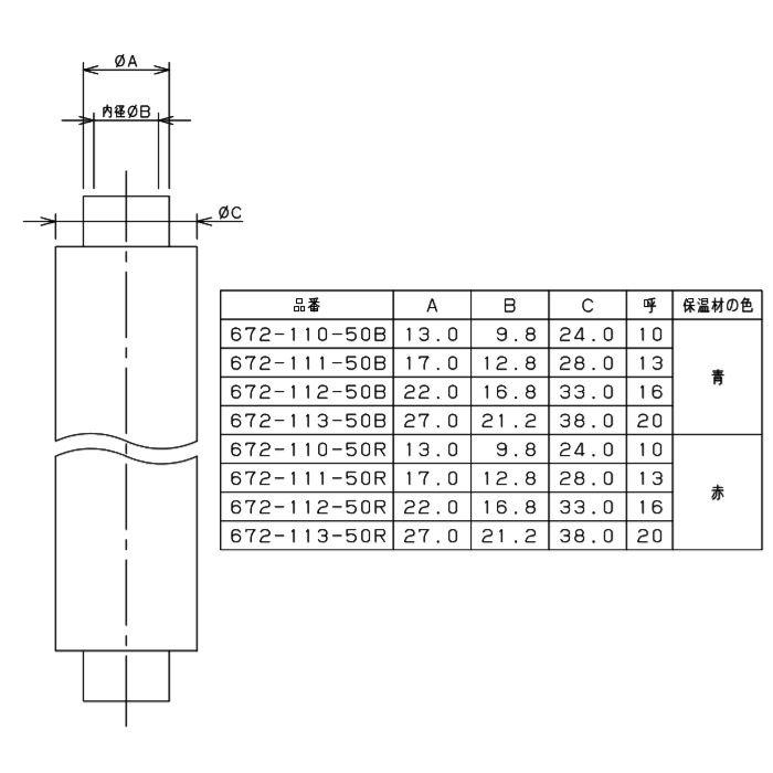672-112-50R 保温材つき架橋ポリエチレン管 赤 16mm