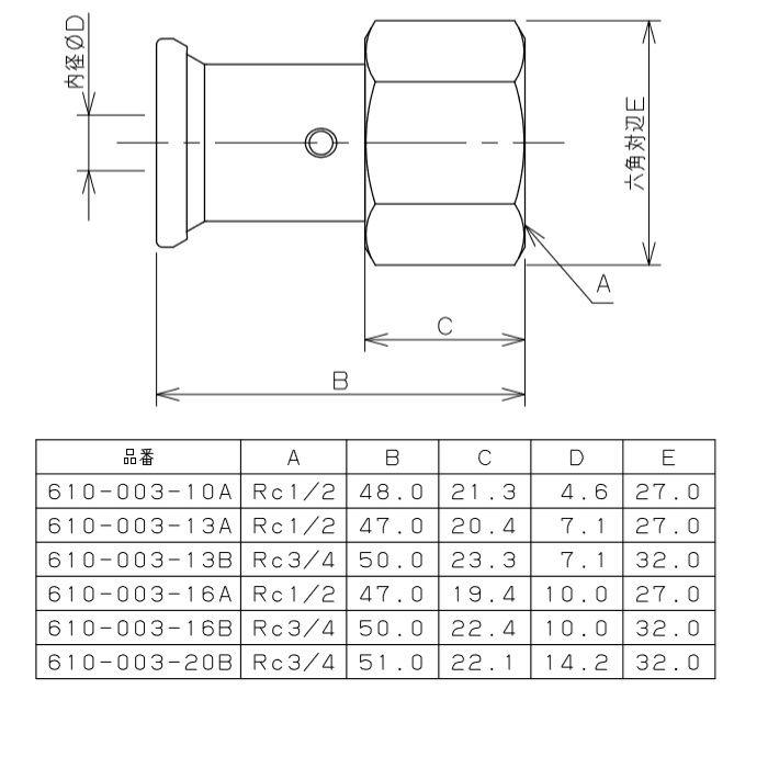 610-003-13B JKロック内ネジアダプター ワンタッチ
