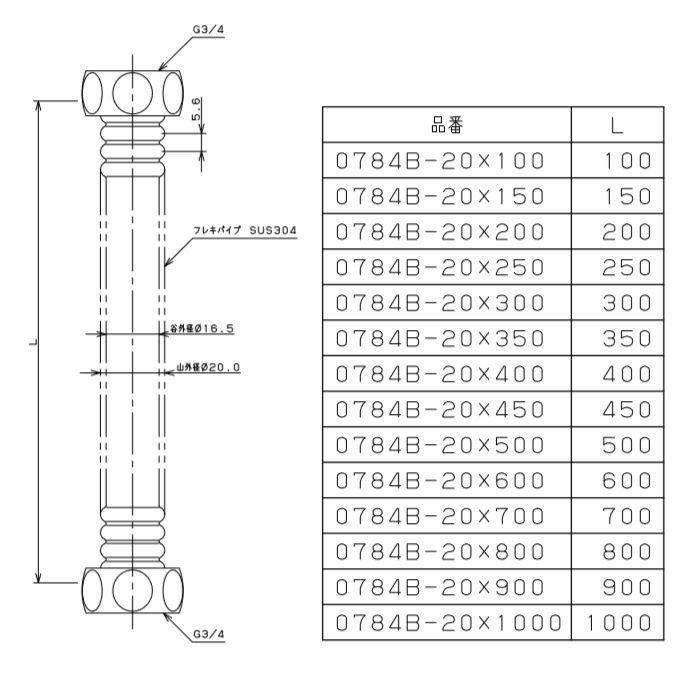 0784B-20X450 水道用フレキパイプ