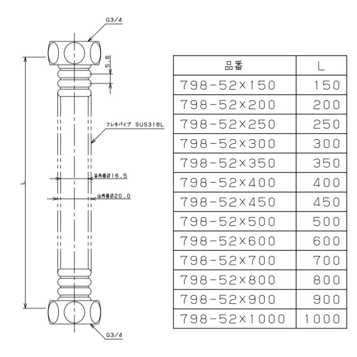 798-52X150 水道用フレキパイプ 20mm