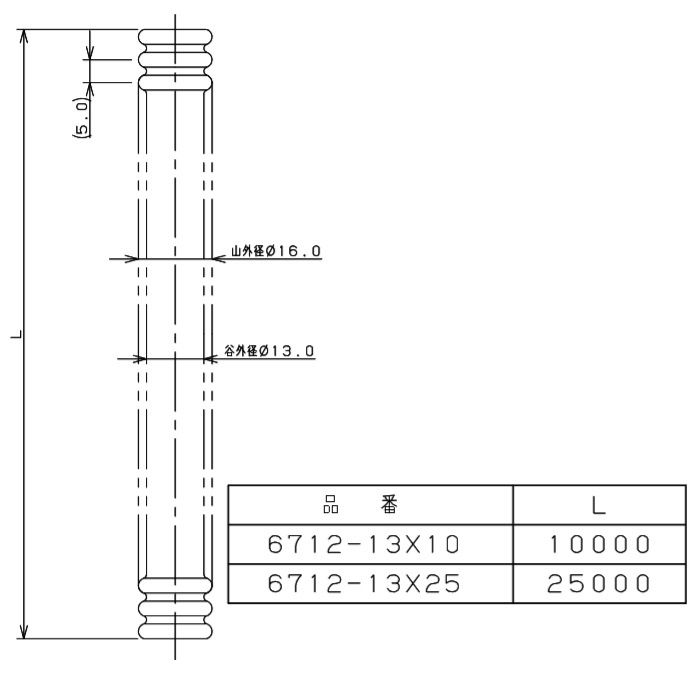 6712-13X25 巻フレキパイプ 316L