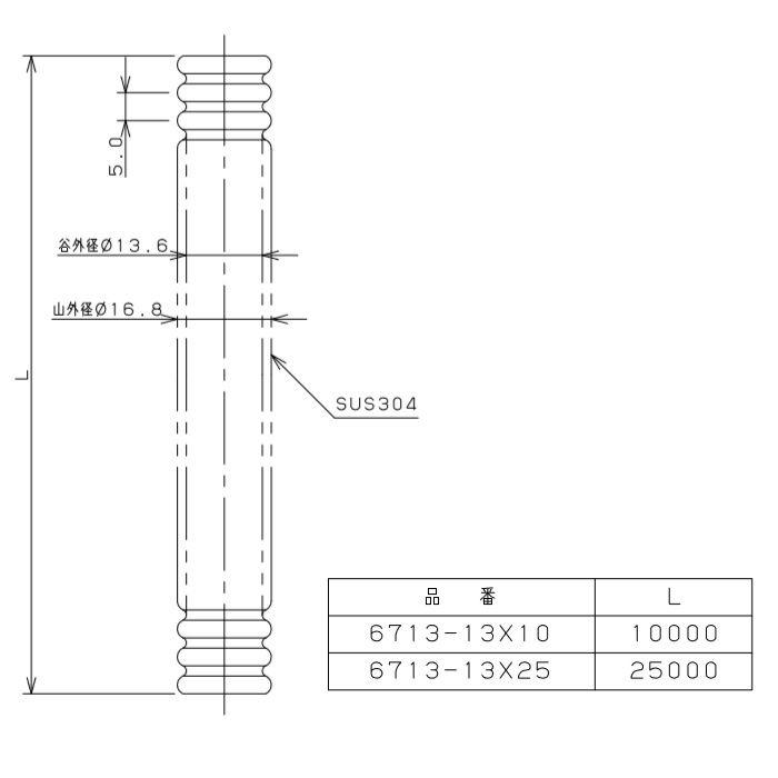 6713-13X10 巻フレキパイプ φ16.8
