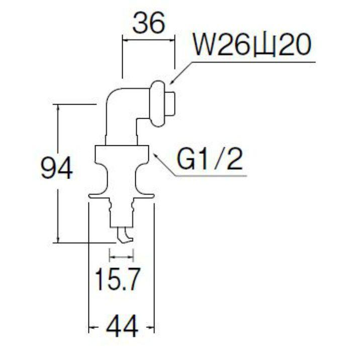 PY123-40TVX-16 洗濯機用L型ニップル
