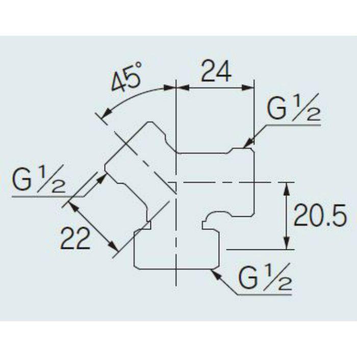 617-290-13 配管継手 片ナット45°チーズ 13