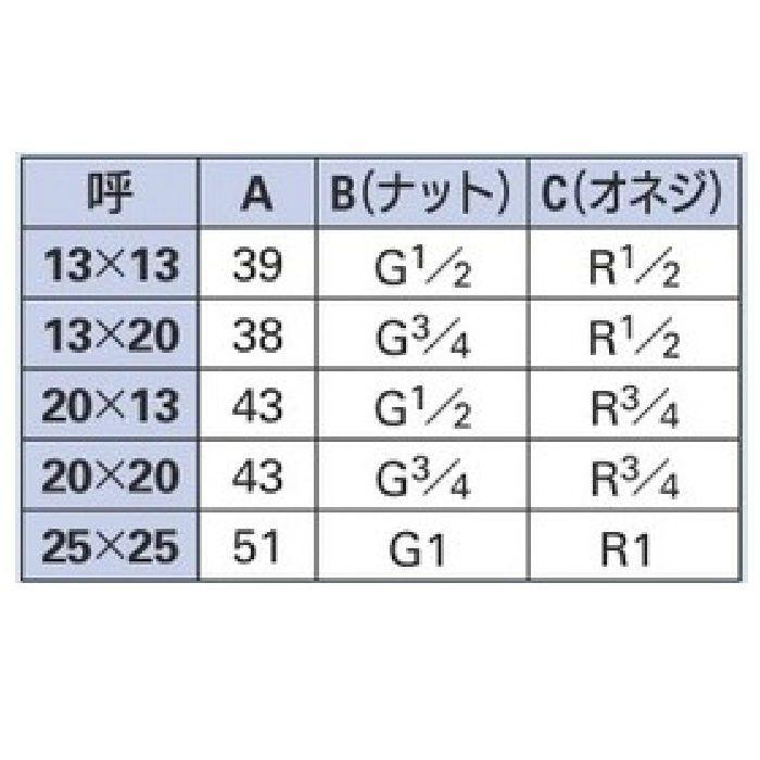 6170-20X13 配管継手 片ナットユニオン 20×13