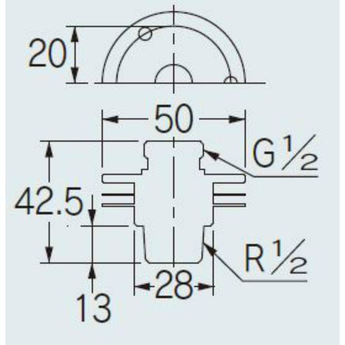 644-250-13 配管継手 ユニット取出し金具(クローム) 13