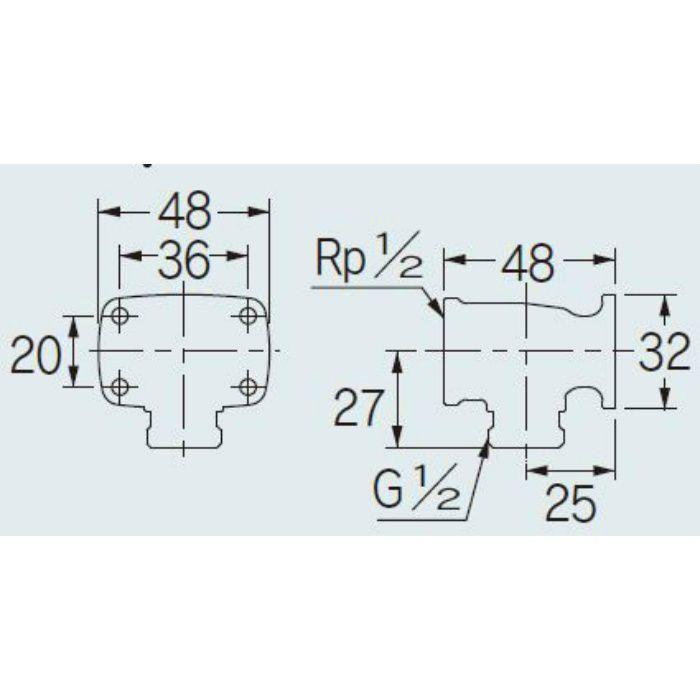 646-800-13 配管継手 座つき水栓エルボ(クローム) 13