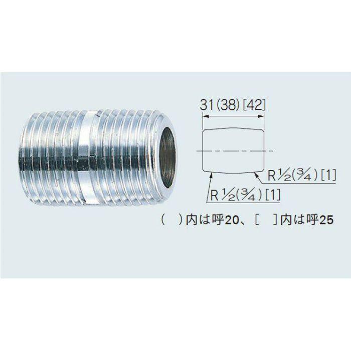 6137-25 配管継手 クローム丸ニップル 25