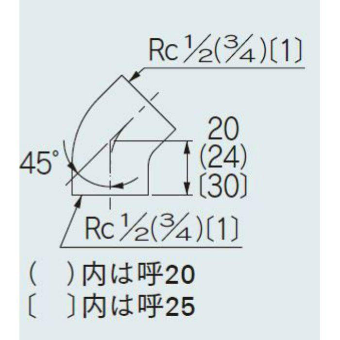 6466-25 配管継手 砲金45°エルボ 25
