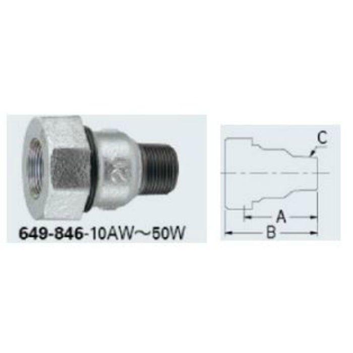 649-846-10AW 配管継手 3管兼用ジョイントオスアダプター(白)
