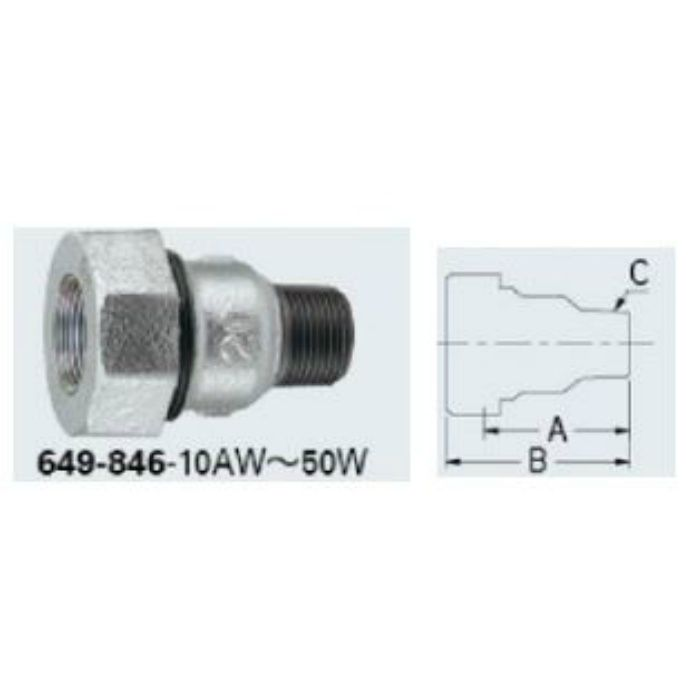 649-846-40W 配管継手 3管兼用ジョイントオスアダプター(白)