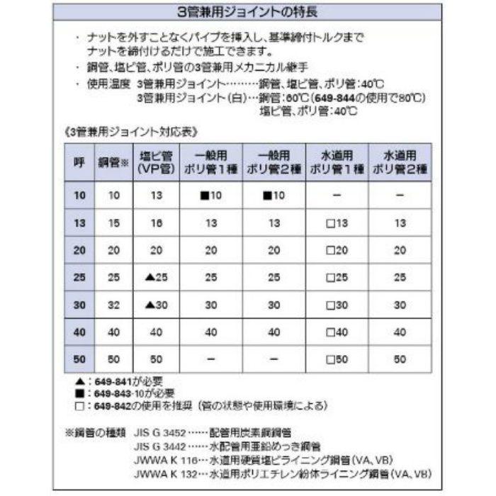 649-842-50 配管継手 水道用ポリ管インコア樹脂(3管兼用ジョイント用)