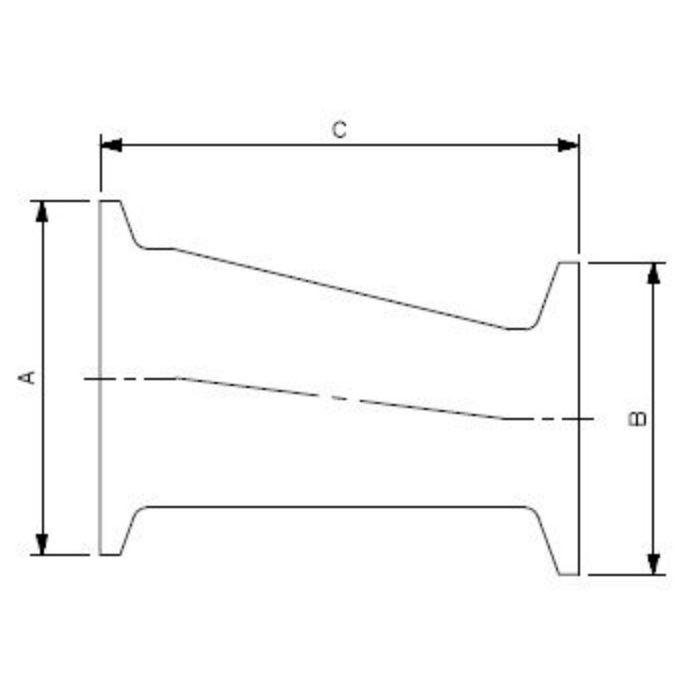 690-09-EXD 工場設備継手 ヘルール偏芯レデューサー 2.5S×2S