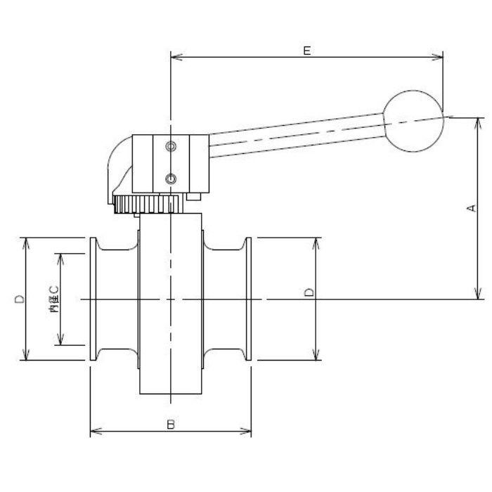 691-30-D 工場設備継手 サニタリーバタフライバルブ 2S