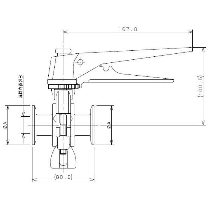 691-35-C 工場設備継手 サニタリーバタフライバルブ(分割式) 1.5S