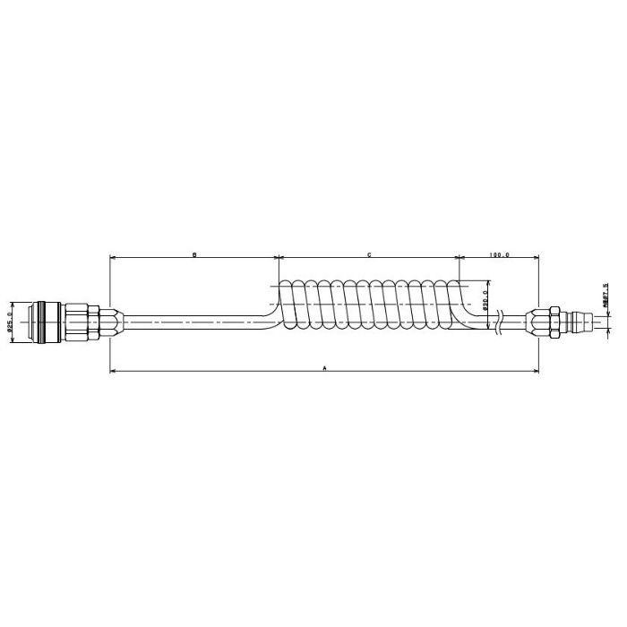 597-01-900 工場設備継手 エアホース(コイルタイプ) 900mm