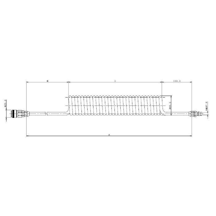 597-05-1440 工場設備継手 難燃性エアホース(コイルタイプ) 1440mm