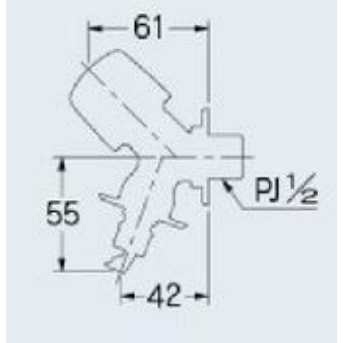 721-521-13 洗濯機用水栓 ストッパー・送り座つき