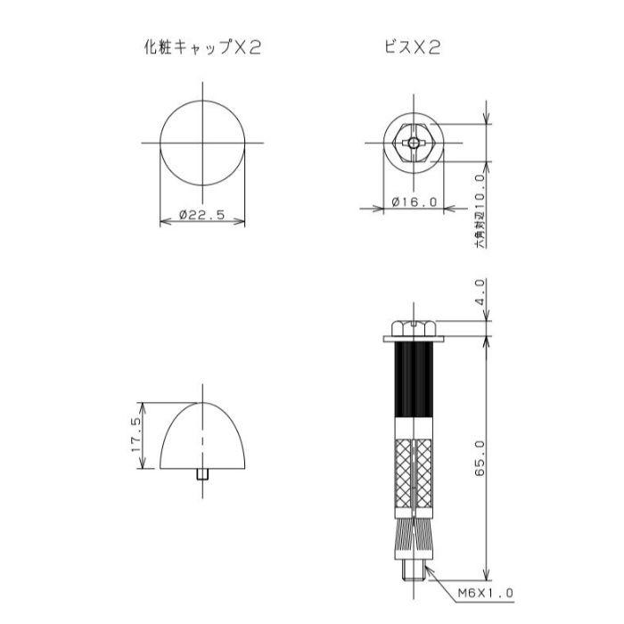 0231APC-1/4X65 便器床取付ビス(AYボルトつき) パステルアイボリー