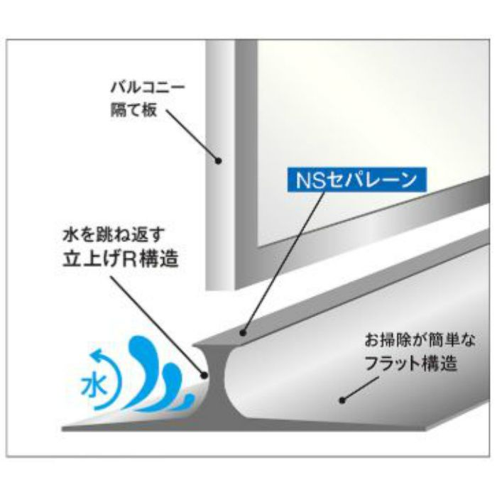NSP1001 バルコニー床仕切り材 NSセパレーン 25mm