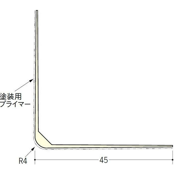 ペンキ・クロス下地材 出隅 ビニール L型コーナー45プライマー付 ミルキー 2.73m  01233-1