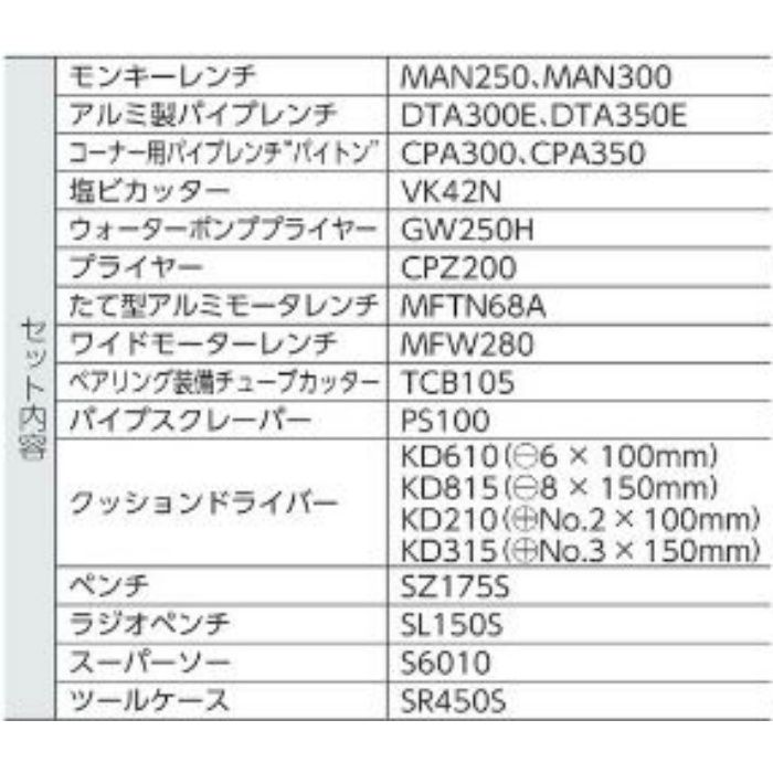 H4000S スーパー プロ用配管工具セット (スタンダードセット) 21点セット