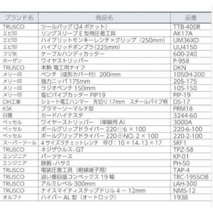 PK-D1 TRUSCO ピカイチ プロ用電設工具セット 26点セット
